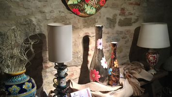 The Sambuco's artistic ceramics shown at Citerna.