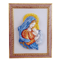 OUR LADY AND CHRIST CHILD 13 1/4in W/FRAME  15 3/4X20in