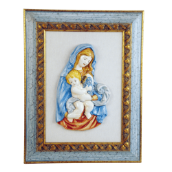 OUR LADY AND CHRIST CHILD 13 1/4in W/FRAME  18 1/2X23 1/2in