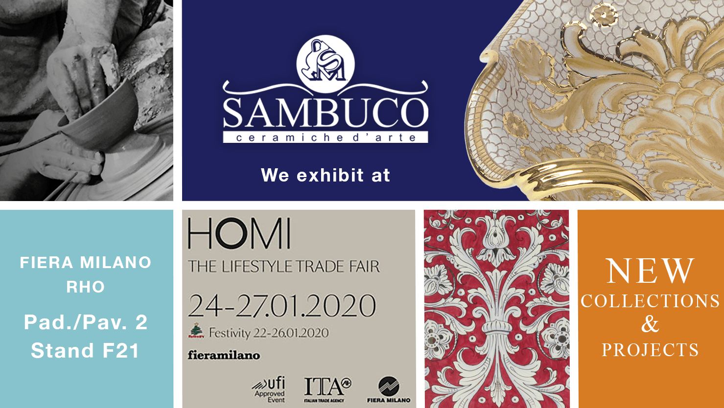 Sambuco exhibits at HOMI Milano January 2020.